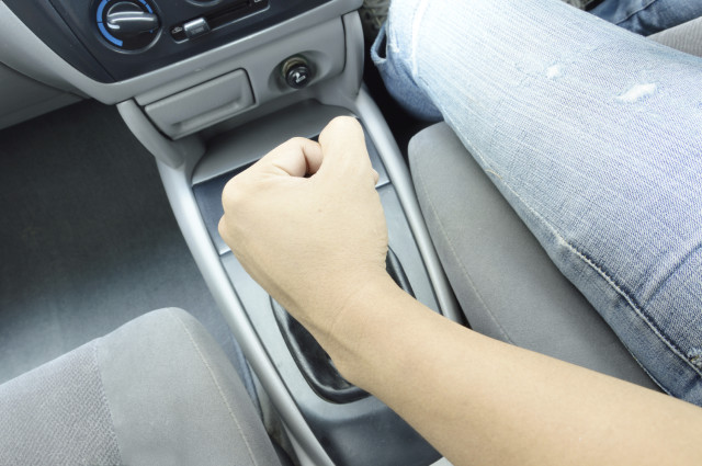 hand on shift knob